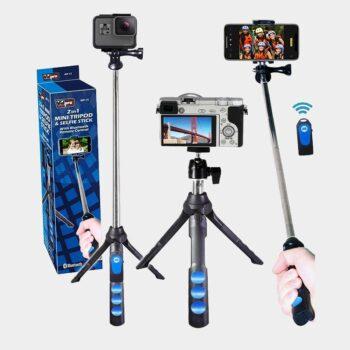 Selfie stick para teléfonos y mini tripode