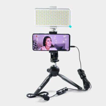 Kit Influencer Vidpro Mini Tripode, Luz LED-180, Micrófono de balita XM-L